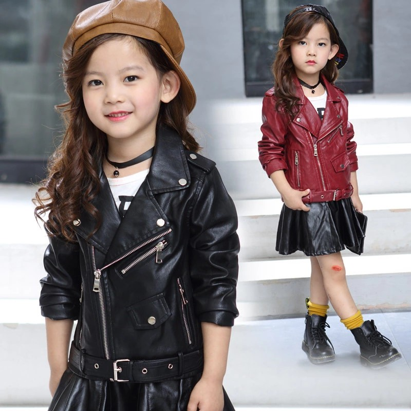 2018 Children PU Leather Jacket Girls Autumn belt Coat Girls Spring Jacket Children Solid Casual Outerwear for kids sizeT-14T