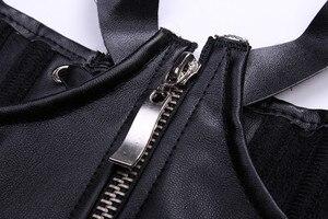 Image 4 - Sexy Lingerie Women Black Leather Lace Steampunk Corset Lady PVC Mini Dress Waist Gothic Bustier Zip Corset Dominatrix Shapers