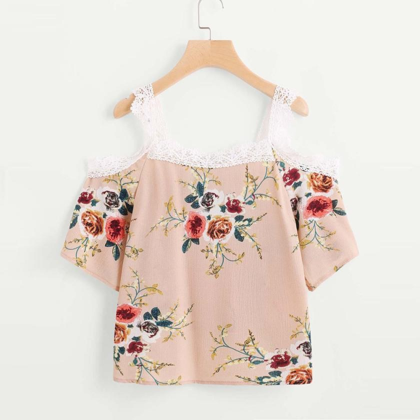 Women Short Sleeve Off Shoulder Lace Floral Casual Tops T-Shirt