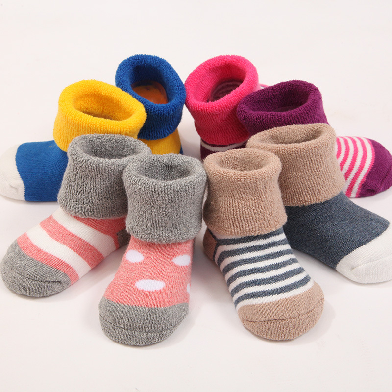 4pcs/set Cute Little Colorful 95% Cotton Baby Socks Set Spring/autumn Winter Newborn Infant Toddler Floor No Bone For 0-3y