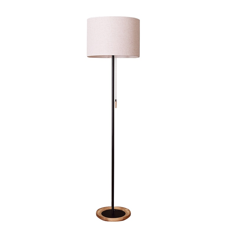 Contemporary Floor Lamp In Solid Woods And Iron, 153cm Height , Linen  Fabric Shade 50*50*35cm, E27 Socket