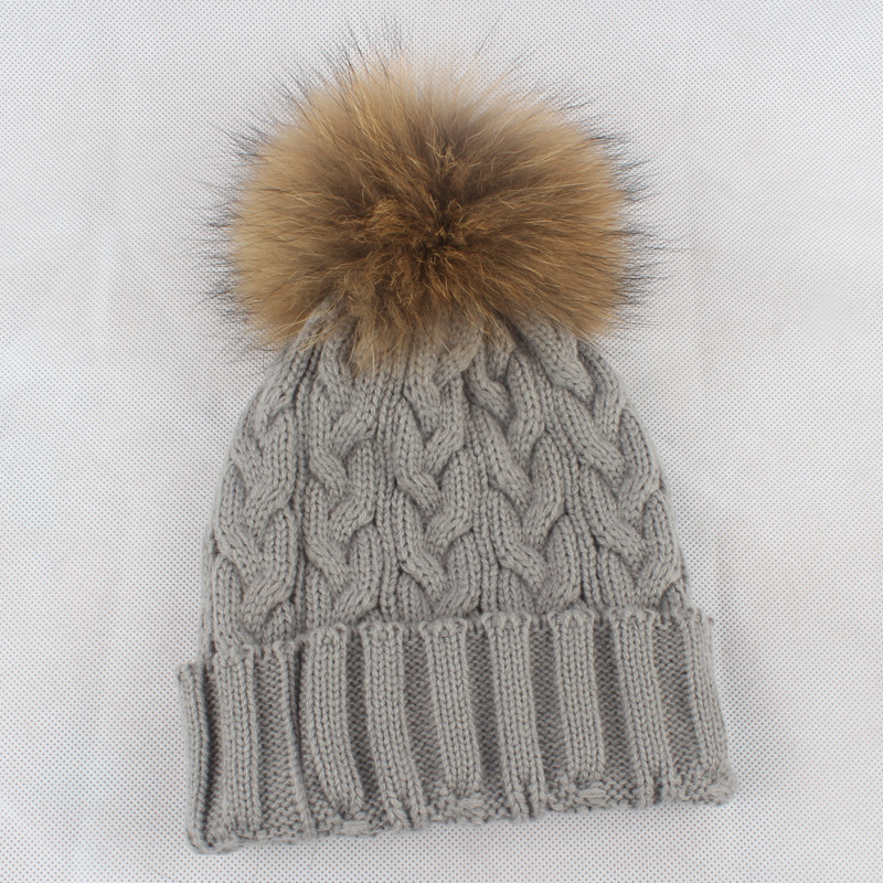 Children Acrylic Skullies Beanies Hat 15cm Raccoon Fur Pom Pom Child Winter Genuine Fur Caps Headgear Ear Protector VF4017 skullies