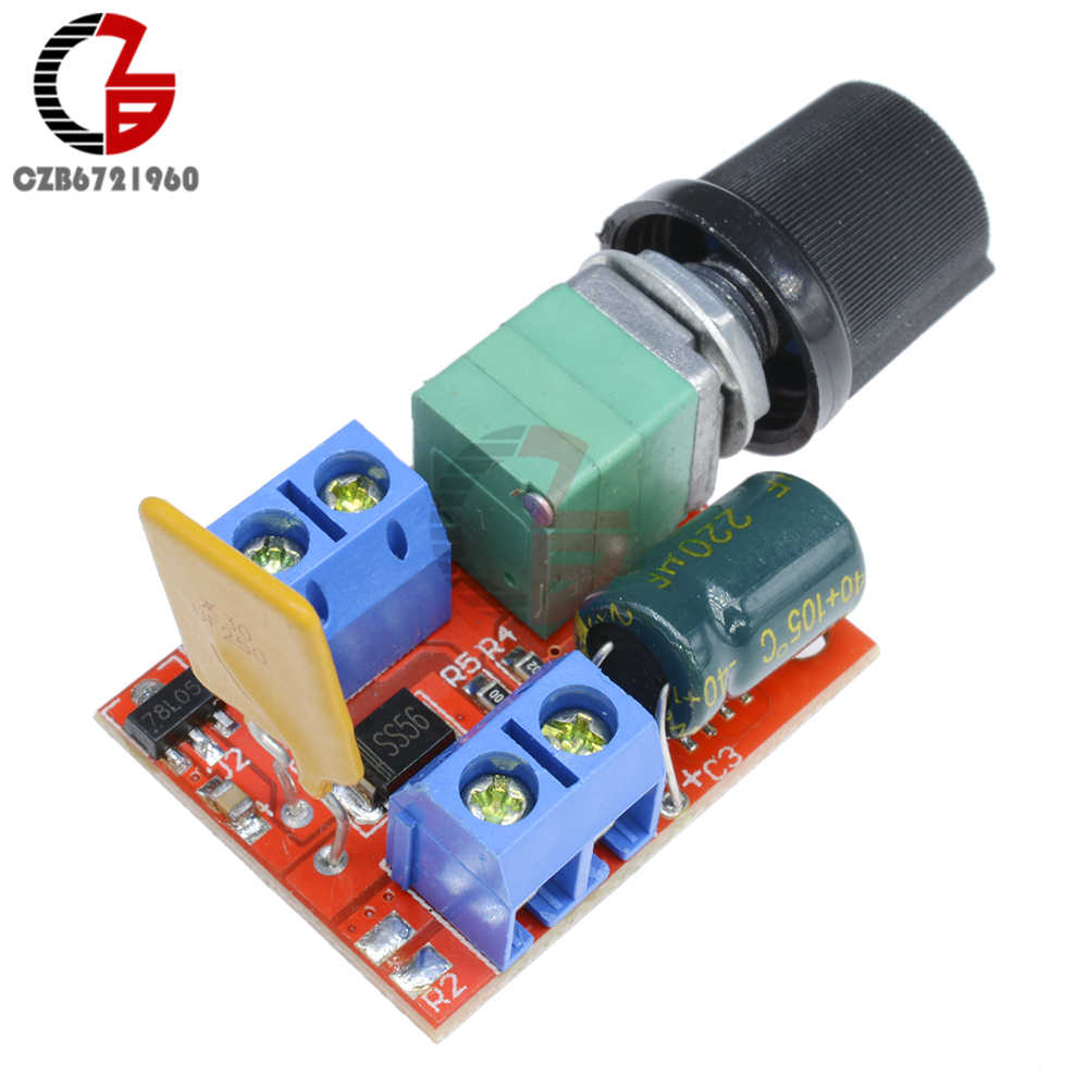 5A Mini PWM DC Motor Speed Controller 3V-35V Speed Regulator Control Switch LED Dimmer DC 5V 12V 24V