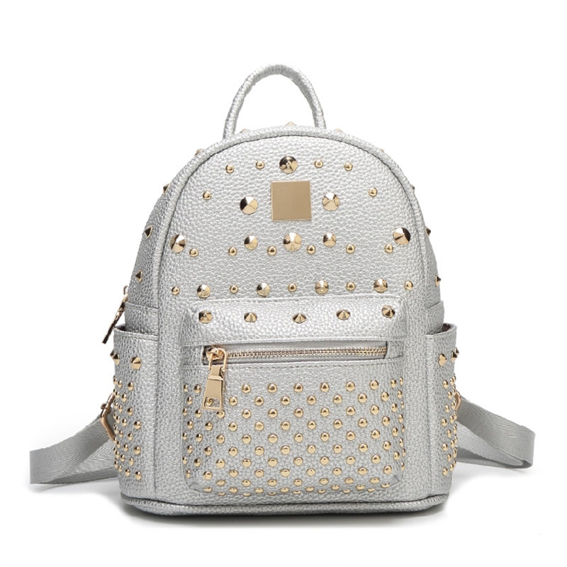 Rivets Backpack Genuine Leather Backpack for Girls Stylish Women Small Backpacks Silver Black Pink White