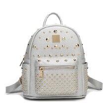 Заклепки рюкзак натуральная кожа рюкзак для девочек стильные женские небольшие рюкзаки серебристый/черный/розовый/белый