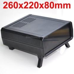 HQ Instrumentierung ABS Projekt Gehäuse Box Fall, Schwarz, 260x220x80mm.