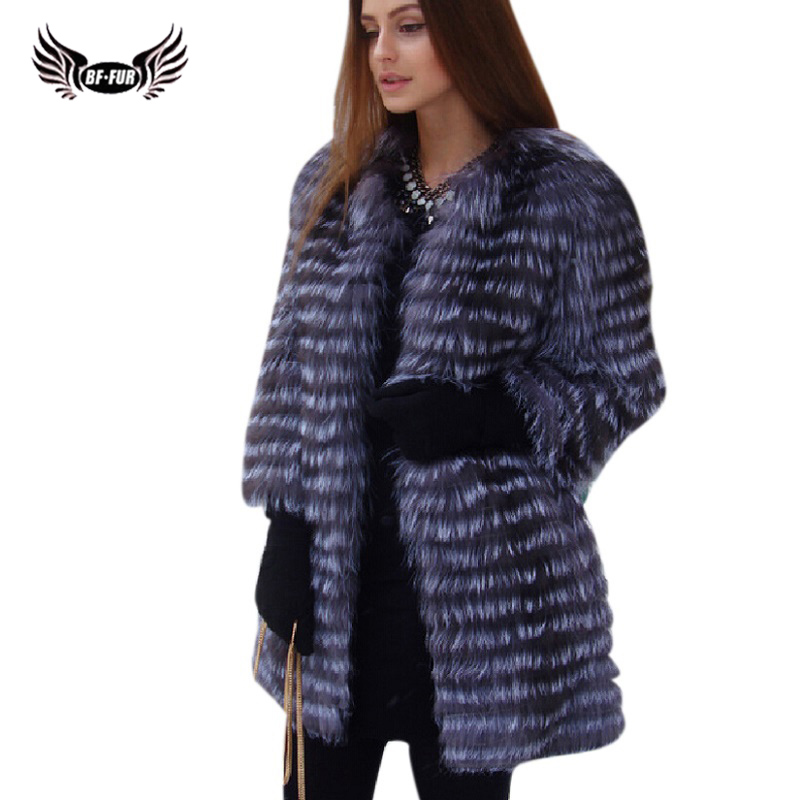 BFFUR נשים חורף Real Fox Fox Coat 2018 חדש גבירותיי עבה בחום בינוני ארוך נקבה מעיל פרווה כסף פוקס פרווה מעיל snowsuit