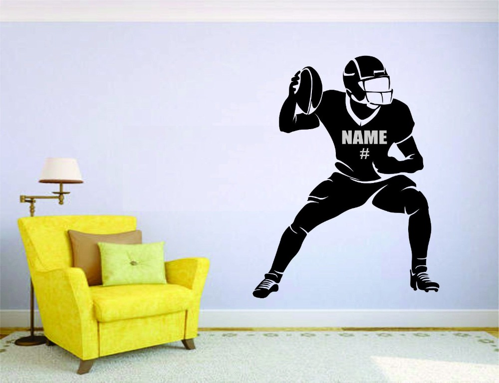 American Football Wall Mural Vinyl Decal Sticker Decor Player Custom Name  And Number Personalized Kids Teens