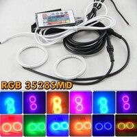 Wodoodporna RGB Wielu Kolor 3528 SMD Lampa Błyskowa LED SMD Angel Eyes Zestaw IR kontrola Reflektor 72 80 120 125 140 60 65mm z Pokrywą PC