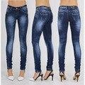 Sexy stretch azul oscuro lápiz blanqueados jeans cintura baja encuadre de cuerpo entero mujeres pantalones de mezclilla pantalones jegging leggings mujer de talla grande