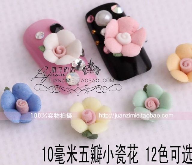 10 mm small porcelain flowers ceramic flower nail art applique false nail chu10 -