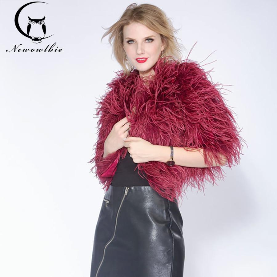 14 Color Women/'s Jacket Coat short Genuine Ostrich Fur Feather Outwear Garment