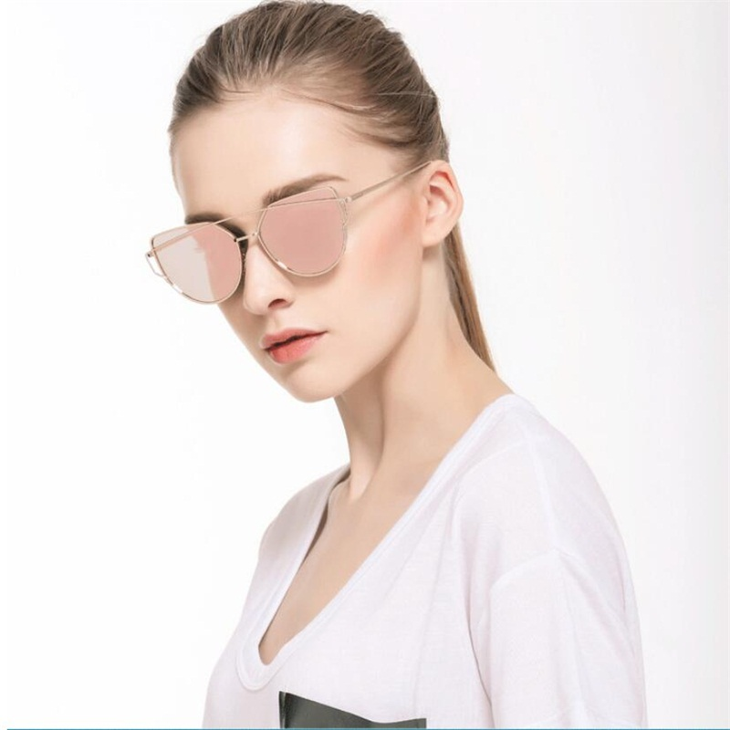 Cat Eye vintage Brand designer rose gold mirror Sunglasses For Women Metal Reflective flat lens Sun Glasses Female oculos|Women's Sunglasses| |  - AliExpress