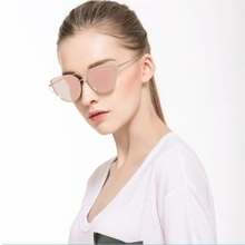 Cat Eye vintage Brand designer rose gold mirror Sunglasses For Women Metal Reflective flat lens Sun Glasses Female oculos|Women's Sunglasses| |  - AliExpress