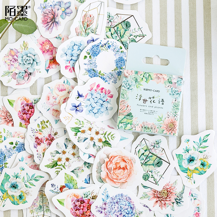 46pcs/pack Romantic Flowers Plants Decorative Sticker Set Diary Album Label Sticker Diy Scrapbooking Stationery Stickers Escolar