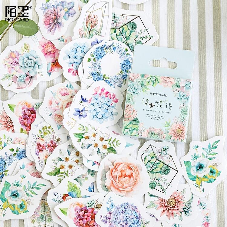 46pcs/pack Romantic Flowers Plants Decorative Sticker Set Diary Album Label Sticker Diy Scrapbooking Stationery Stickers Escolar