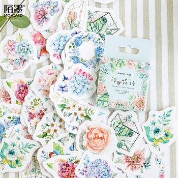 46pcs/pack Romantic Flowers Plants Decorative Sticker Set Diary Album Label Diy Scrapbooking Stationery Stickers Escolar - discount item  15% OFF Stationery Sticker
