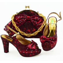 2019 Latest Wine Shoes and Bag Set Italian Shoes with Matching Bags High Quality Women Shoe and Bag To Match ladies Wedding