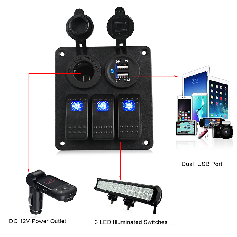 Image 4 - LED 3 Gang Rocker Switch Panel Power Socket 3.1A Dual USB Wiring Kits and Decal Sticker Labels DC12V 24V for Marine Boat Car-in Car Switches & Relays from Automobiles & Motorcycles