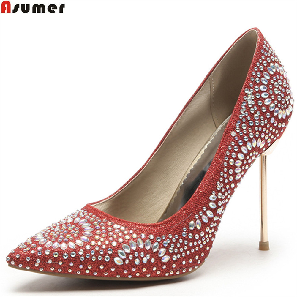 ASUMER red gold silver fashion spring autumn shoes woman pumps pointed toe shallow elegant women wedding shoes high heels asumer black wine red 2018 spring autumn ladies pumps pointed toe shallow elegant dress shoes women high heels shoes size 43