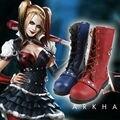 Batman Arkham Knight Cosplay Zapatos Harley Quinn Cosplay Botas de Las Mujeres Adultas Zapatos De Juego de Halloween Azul Y Rojo Botas Por Encargo