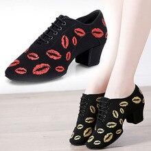 BD802 ส้น 5 ซม. Oxford ผ้า Cha Cha ครูรองเท้าการพิมพ์ BD บอลรูมบัลเล่ต์เต้นรำรองเท้าผู้หญิง