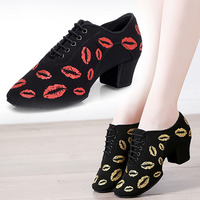 BD802 Heel 5 cm Soft Oxford Cloth Cha Cha Teacher Dance Shoes Printing BD Ballroom Latin Ballet Dancing Shoes Woman