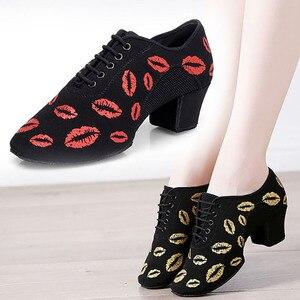 Image 1 - BD802 Topuk 5 cm Yumuşak Oxford Kumaş Cha Cha Öğretmen Dans Ayakkabıları Baskı BD Balo Salonu Latin Bale dans ayakkabıları Kadın