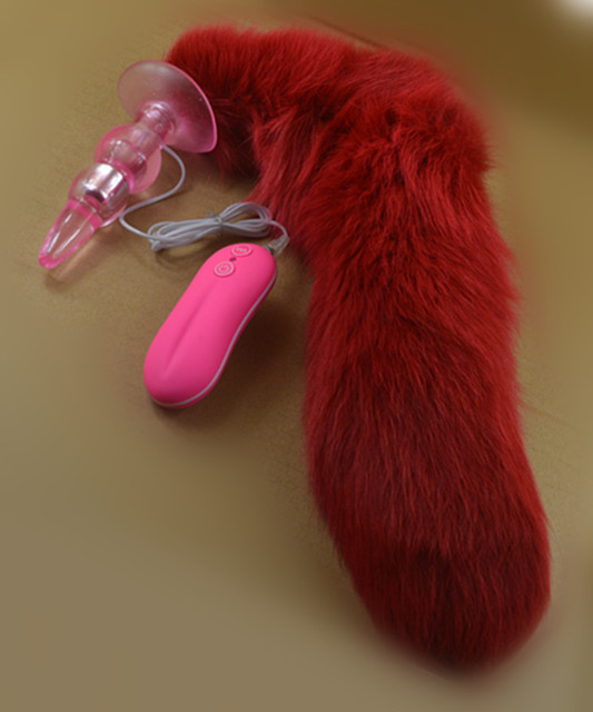 Red Fox Tail Anal Plug In Adult Game For Couples,10 Speed Vibrating  Anal Beads Butt Plug , Erotic Sex Flirting Toys For Women