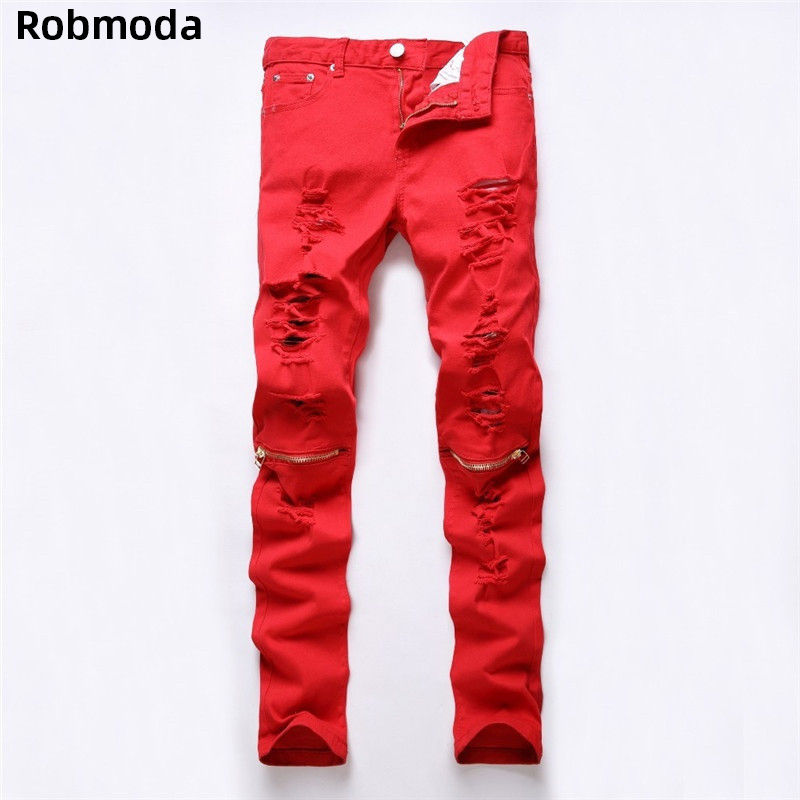 Hole Zipper Jeans Slim Men Trousers 2019 Autumn Men Casual Denim Pants Classic Cowboys Young Man Black Red White Jeans Trousers