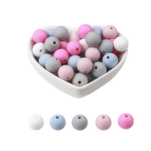 Image 3 - BOBO.BOX 15mm 100pcs Silicone Beads Food Grade Silicone Baby Teething For Necklace Chews Pacifier Chain Clip Beads Soft Silicone