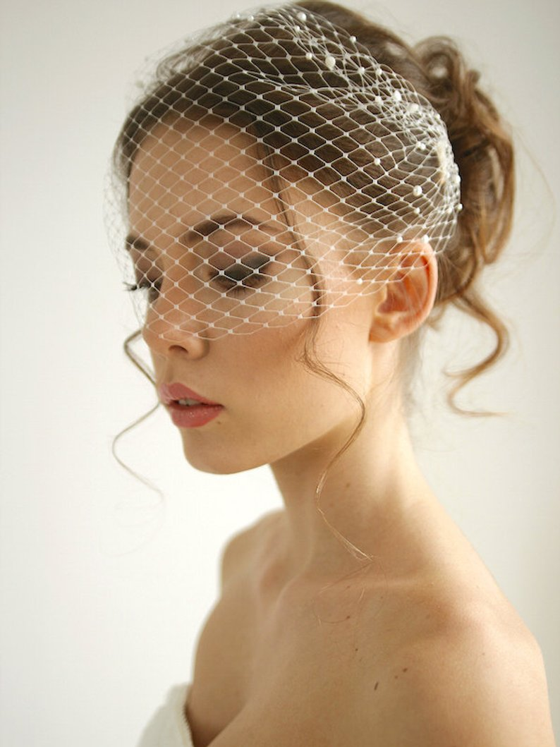 Bridal Birdcage Veil And Bride Beaded Birdcage Veil, Blusher  Veil,Short Veil