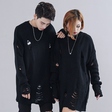 Knitted Sweater Jersey Couple Pullover Men Punk Hip-Hop Ripped Vintage Striped Hole Destroyed-Hole