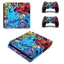 Graffiti  PS4 Slim Skin Sticker Vinyl Decal Cover for Sony PS4 PlayStation 4 Slim Console System and 2 Controllers