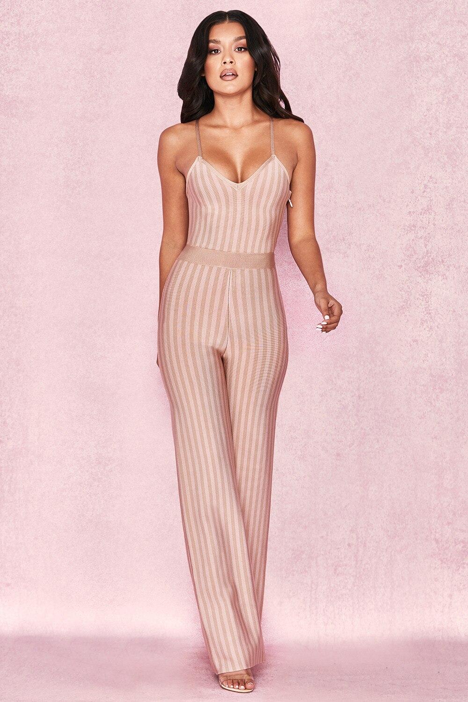 94570bce68a 2018 Elegant Fashion Women Beige Striped Spaghetti Strap Bandage Jumpsuit  Sexy Summer Celebrity Party Jumpsuits Wholesale Festa