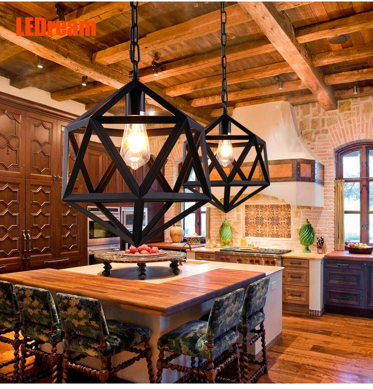 Creative personality loft balcony ,wrought iron bar counter dining-room lamp corridor industrial chandeliers