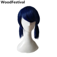 WoodFestival Navy Blue Wig Cosplay Short Wigs For Women Synthetic Heat Resistant