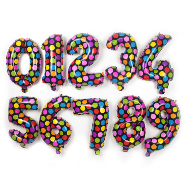 16 inch Colorful Dot Number foil Balloons Digit Helium Ballons Birthday Party Wedding Decor Air Baloons Event Party Supplies