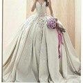 Luxo vestido de Baile Querida Vestidos de Casamento Strapless Catedral Trem Applique Do Vintage Bordado Vestido De Novias Rainha NM 459