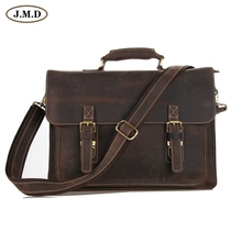 JMD Crazy Horse Leather Men's Brown Shoulder Messenger Bag Cross Body Handbags 7205R