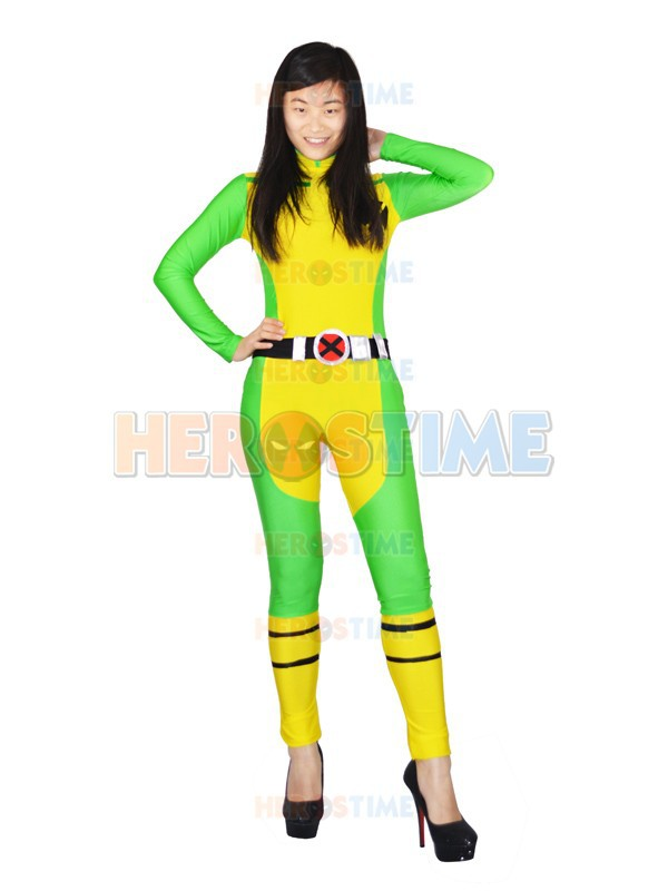 X-Men Rogue Costume Spandex No Feet Halloween Coplay Party X-Men Superhero Zentai Suit