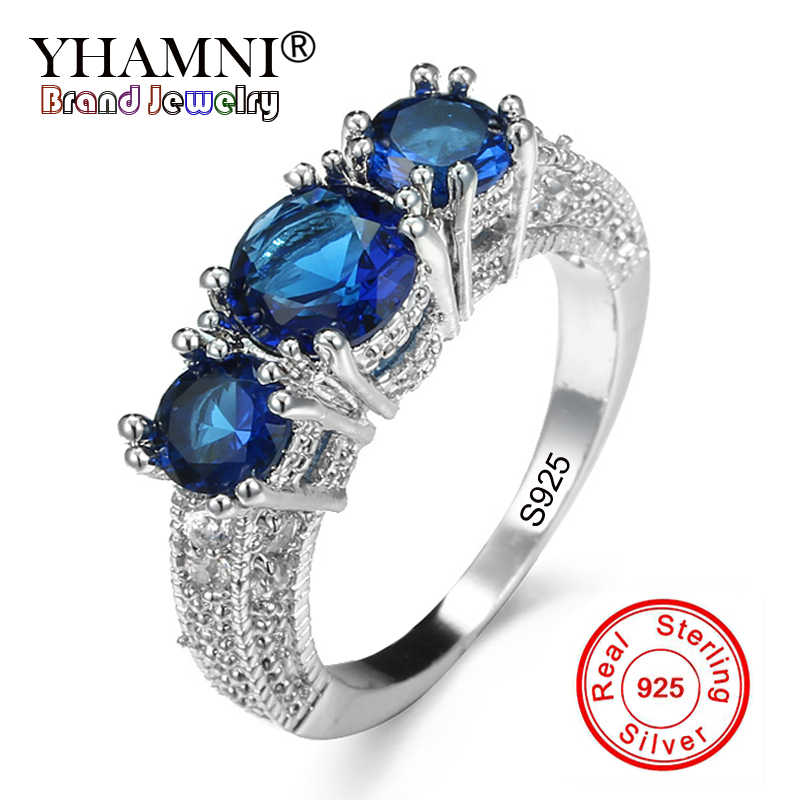 YHAMNI Moda 7 Cores Authentic 100% 925 Sterling Silver Ring conjunto de 3 pcs Natural Gem Stone Jóias CZ Anel De Casamento Original A078