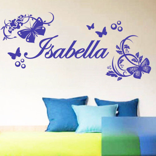 Name custom Butterfly natural style bedroom home decoration Removeable PVC Sticker