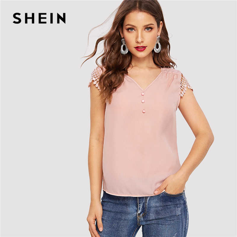 SHEIN Pink Half Placket Contrast Lace Cap Sleeve Button Plain Blouse Women Office Lady 2019 Spring Summer V Neck Top Blouses