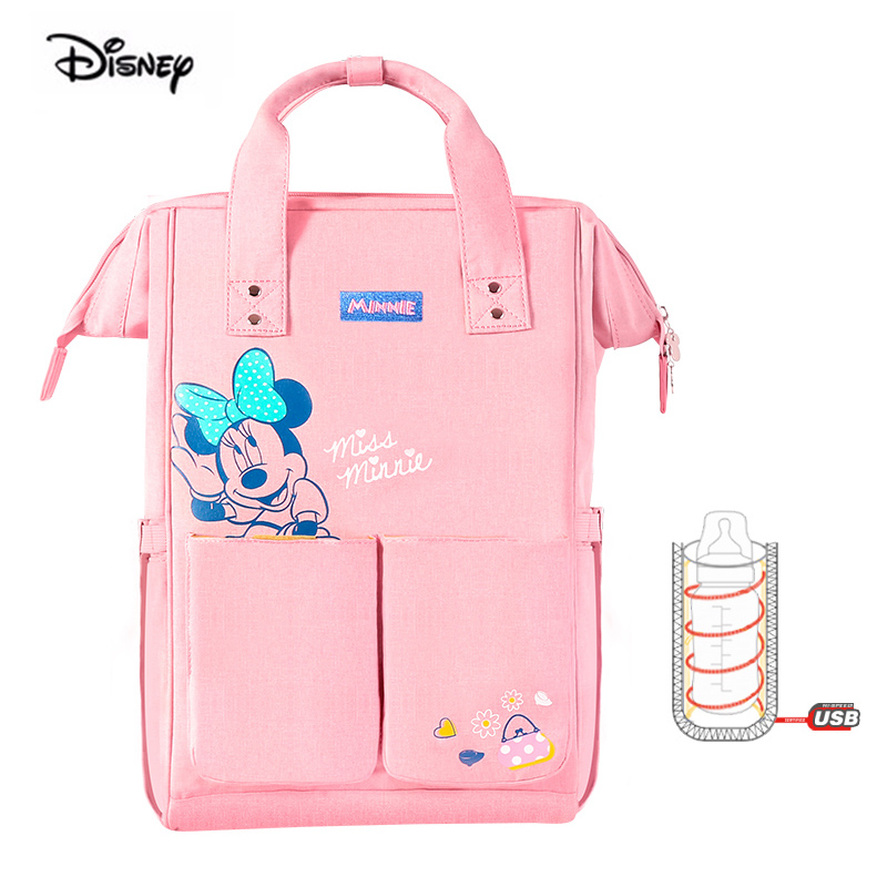 Disney USB Heater Multifunction Large Capacity Nappy Diaper Backpack Pink Minnie Mickey Mouse Baby Mother Bag Maternity Bag