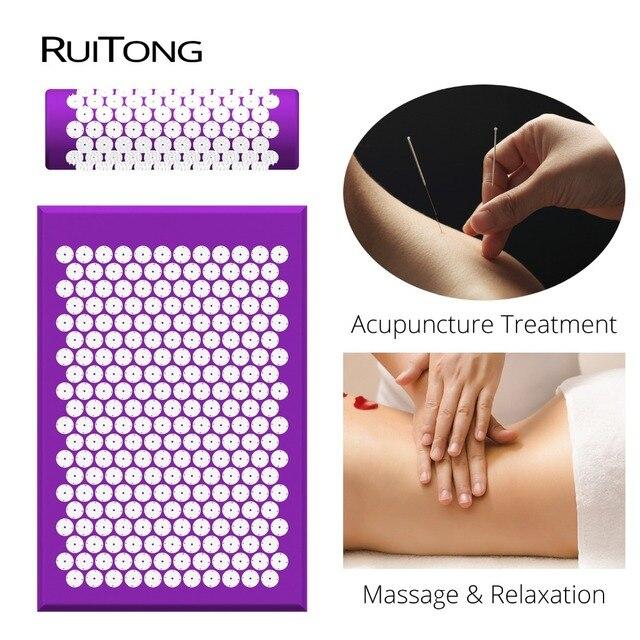 Dropshipping Massage Mat and Pillow Set Head Neck Back Massage Pad Spike Cushion Shakti Mat Acupressure Massage Cushion 2