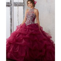Ball Gown Burgundy Quinceanera Dresses 2019 Puffy Skirt Beaded Crystal Formal 15 Years Prom Dress Cheap 2019