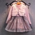 Bebê Vestido Da Menina New 2016 Fleece Inverno Veludo Patchwork Rosa manequim de Duas Peças Vest Vestidos para Crianças Meninas Vestido de Gaze GDR124