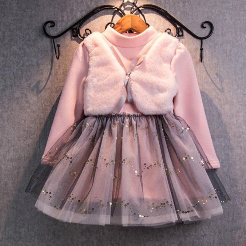 ▻Vestido de niña nuevo 2016 lana invierno de terciopelo patchwork ...