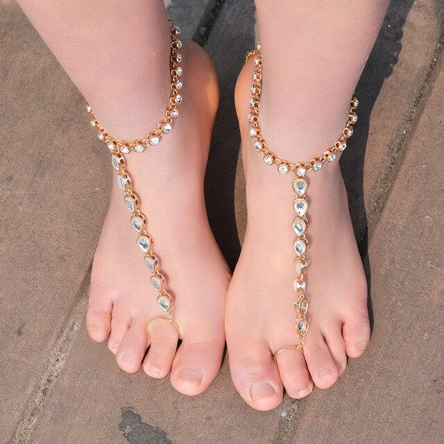 Beach Crystal Anklet Bracelet for Women Rhinestone Barefoot Sandals